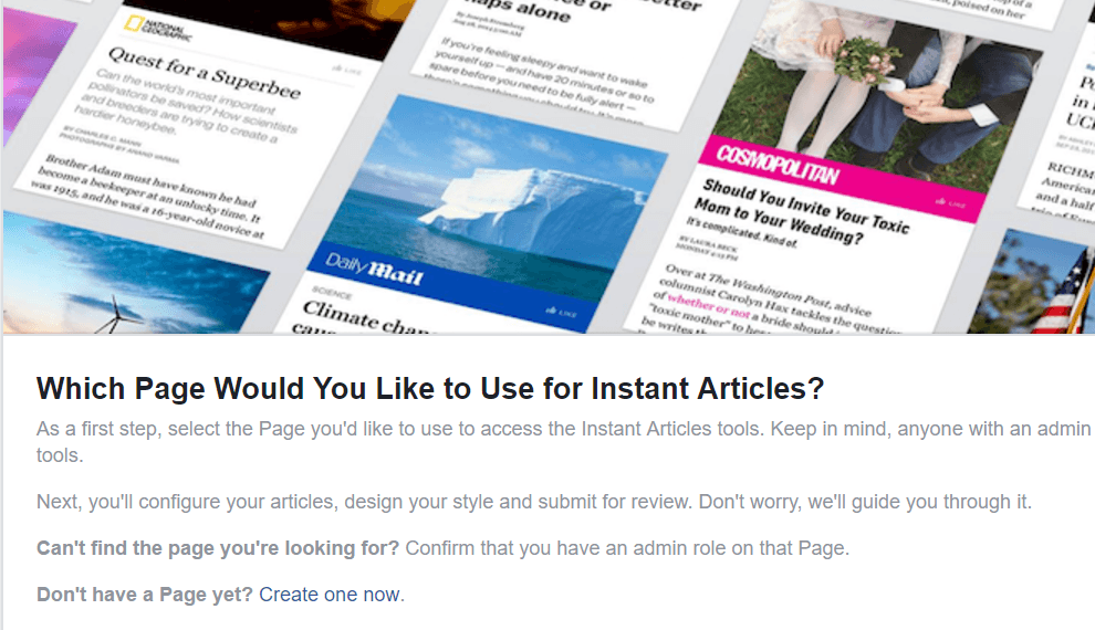Signup, Facebook instant articles